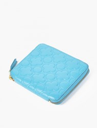 Comme Des Garcons Blue Embossed Leather Wallet