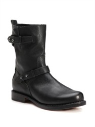 Rag And Bone Leather Moto Ankle Boots Black