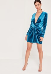 Missguided Velvet Wrap Dress Blue Teal