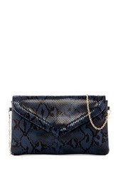 Urban Expressions Monique Snake Embossed Vegan Leather Crossbody Clutch Blue