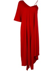 Maison Martin Margiela Draped Sleeve Asymmetric Dress Red