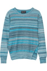 Baja East Melange Striped Cotton Sweater Jade