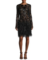 Monique Lhuillier Beaded Long Sleeve Feather Skirt Dress Black