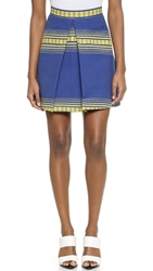 Alice Olivia Russo Inverted Pleat Skirt Royal Zapotec
