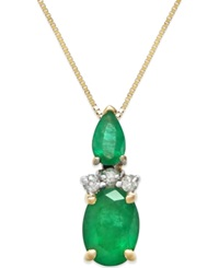 Macy's Emerald 1 Ct. T.W. And Diamond Accent Pendant Necklace In 14K Gold Green