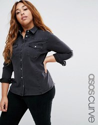 Asos Curve Denim Fitted Western Shirt In Washed Black Black