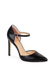 Halston Point Toe Leather D'orsay Pumps Black