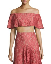 Alexis Taza Off The Shoulder Lace Crop Top Pink