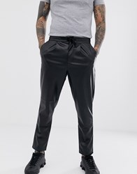 Another Influence Pu Faux Leather Draw String Trouser Black