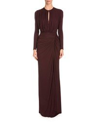 Givenchy Long Sleeve Crepe Jersey Handkerchief Dress Burgundy Red Women's