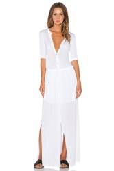 Michael Stars 3 4 Sleeve Maxi Shirtdress White