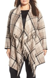 Tart Plus Size Women's Sage Plaid Drape Front Coat