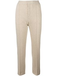 See By Chloe Cropped Straight Leg Trousers Nude Neutrals
