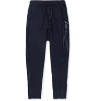Isabel Benenato Logo Embroidered Knitted Sweatpants Midnight Blue