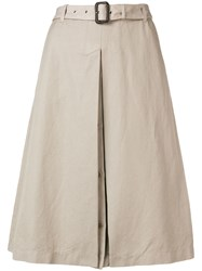 Aspesi Belted Midi Skirt Neutrals