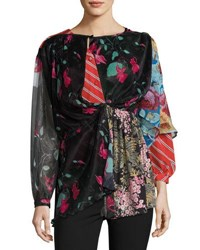 Balenciaga Patchwork Long Sleeve Cape Back Blouse Ulti Patchwork