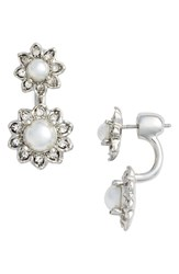 Marchesa Women's Crystal And Faux Pearl Ear Jackets White Crystal Silver