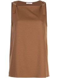 Tibi Buckled Strap Top Brown