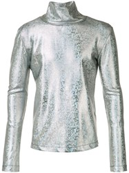Emiliano Rinaldi Metallic Grey Palms Turtleneck Sweatshirt
