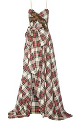 Gucci Embellished Plaid Wool Gown Red