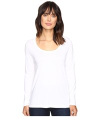 Lilla P Pima Modal Long Sleeve Scoop Neck White Women's Clothing