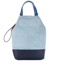 Rag And Bone Leather Suede Tote Blue
