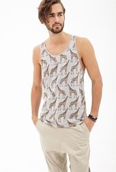 Forever 21 Giraffe Print Tank Top Heather Grey