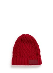 Sacai Cable Knit Wool Beanie Red