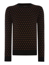 Peter Werth Kubrick Polka Dot Crew Neck Pull Over Jumpers Black