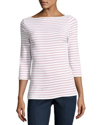 Three Dots Striped Fitted Crewneck Tunic White Red