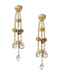 Marco Bicego Paradise Collection 18 Kt. Yellow Gold Triple Strand Earrings Multi Gold