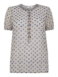 Noa Noa Short Sleeve Blouse Blue