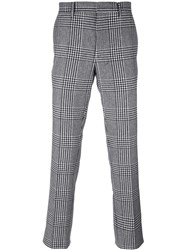 Salvatore Ferragamo Houndstooth Pattern Trousers Black