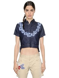 Dsquared Cropped Floral Print Stretch Denim Shirt
