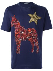 Dolce And Gabbana Crystal Horse Print T Shirt Blue