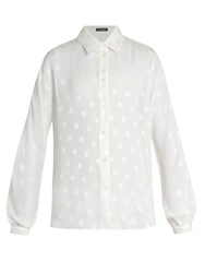 Dolce And Gabbana Polka Dot Fil Coupe Blouse White