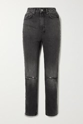 Ksubi Chlo Wasted Distressed High Rise Straight Leg Jeans Black