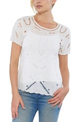 Willow And Clay Embellished Cutout Tee Ivory