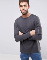 New Look Long Sleeve Top With Ma1 Detail In Grey Grey