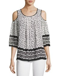 Max Studio Printed Cold Shoulder Blouse White Pattern