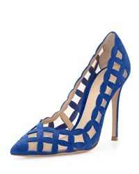 Gianvito Rossi Suede And Tulle Cutout Pump Royal Blue