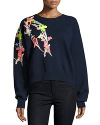 Jason Wu Holiday Floral Wool Sweatshirt Navy