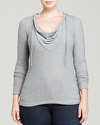 Three Dots Plus Cowl Neck Hoodie Granite