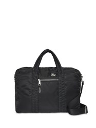 Burberry Ekd Aviator Nylon And Leather Briefcase Black