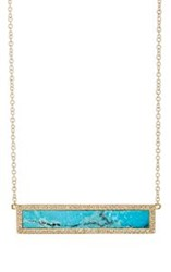 Jennifer Meyer Women's Turquoise Bar Pendant Necklace Colorless