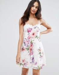 Lipsy Printed Lace Skater Dress Multi