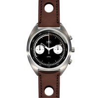 Mhd Watches Cr1 Reverse Panda Dial Chronograph Watch With Brown Strap Black White Grey