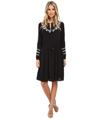 Adrianna Papell Embroidered Peasant Dress Black Women's Dress