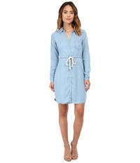Gabriella Rocha Nia Dress With Drawstring Washed Light Denim Women's Dress Blue