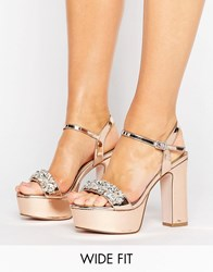 Asos Honey Pot Wide Fit Embellished Platforms Nude Metallic Gold